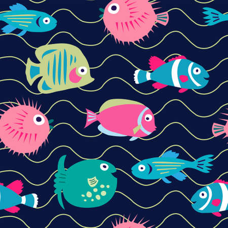 Seamless pattern with a cute cartoon fish on a dark background