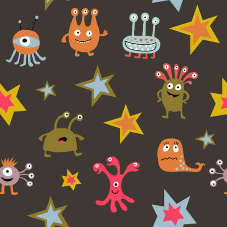 Seamless pattern with a cute cartoon monsters on a dark background