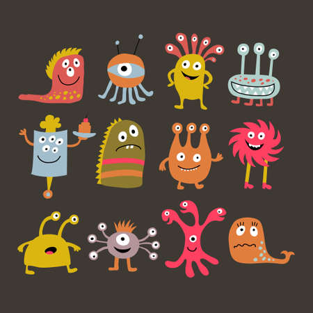 Set with a cute cartoon monsters on a dark background