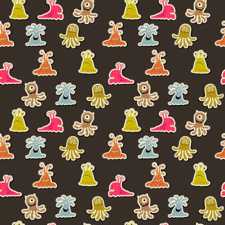 Seamless background with a cheerful monsters on a dark background 일러스트