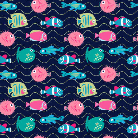 Seamless background with a coral fishes on a dark background