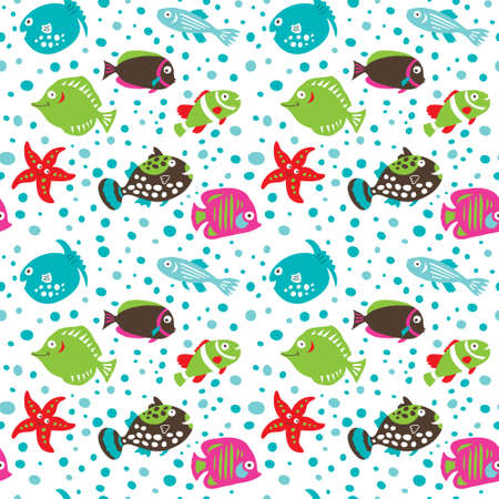 Seamless pattern with a coral fish on a  white background Vectores