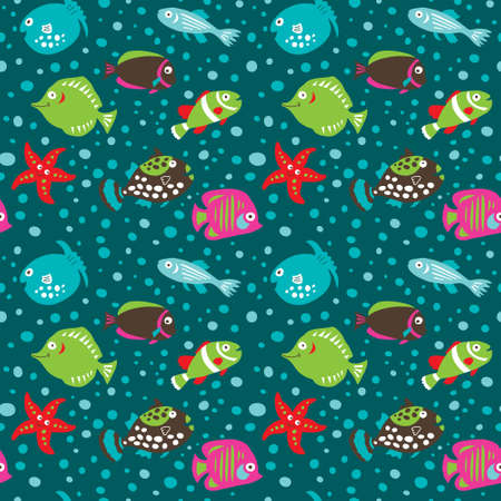 Seamless pattern with a tropical fish on a dark background Vectores