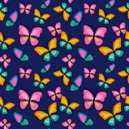 Seamless pattern with a butterflies on a blue background