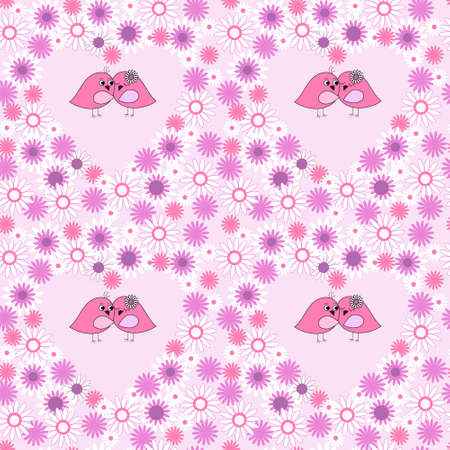 Abstract floral seamless background with a love birds