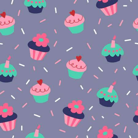 Cute seamless pattern with a cupcakes on gray background