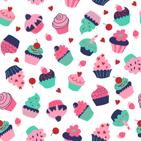 Cute seamless pattern with a different cupcakes and muffins
