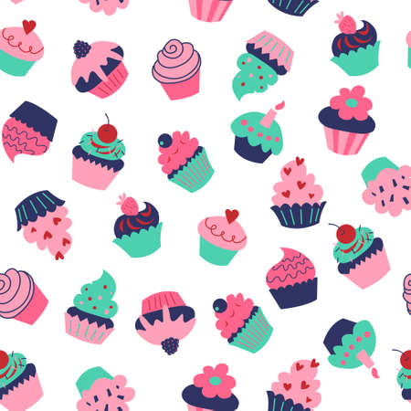 Cute seamless texture with a different cupcakes and muffins