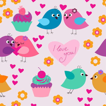 Seamless festive texture with a birds in love and cupcakes Иллюстрация