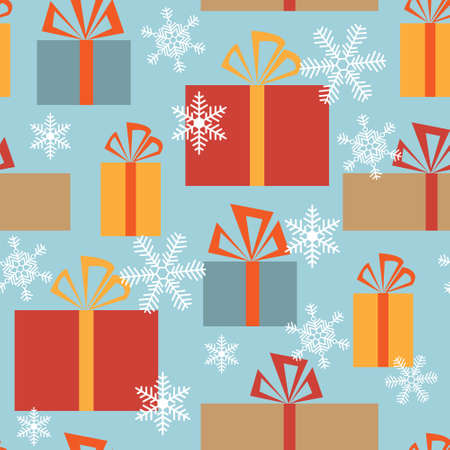 Seamless christmas texture with a gift boxes and snowflakes