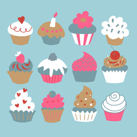A set of a cupcakes on a blue background