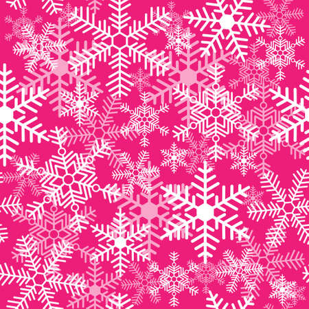 Seamless texture with a snowflakes on a pink background Illustration