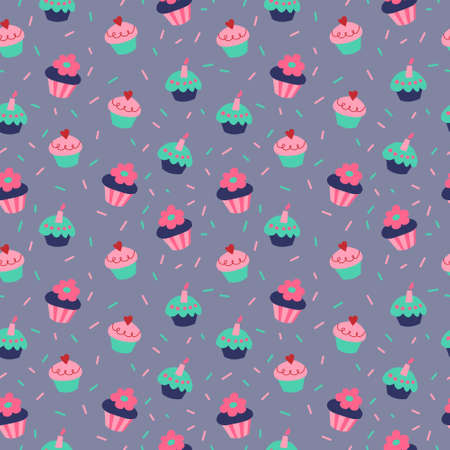 Seamless texture with a cupcakes on a gray background