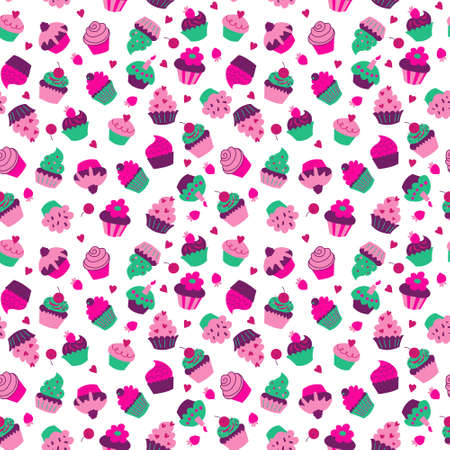 Seamless texture with a cupcakes and berries on a white background