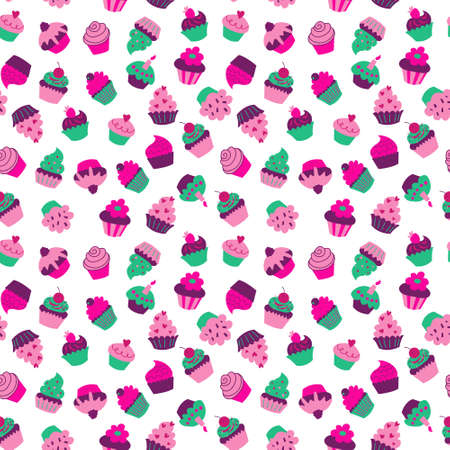 Seamless texture with a cupcakes on a white background Illustration