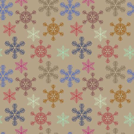 Seamless christmas texture with a snowflakes on beige background Иллюстрация