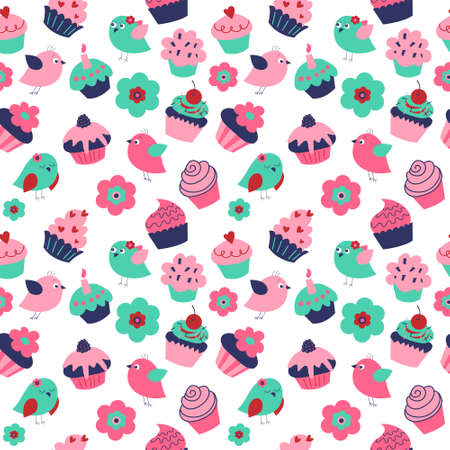 Seamless texture with a cute birds cupcakes and flowers Illustration