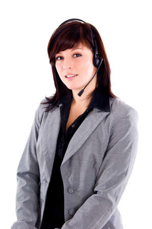 beautiful young operator on a white background Stock Photo - 6638107