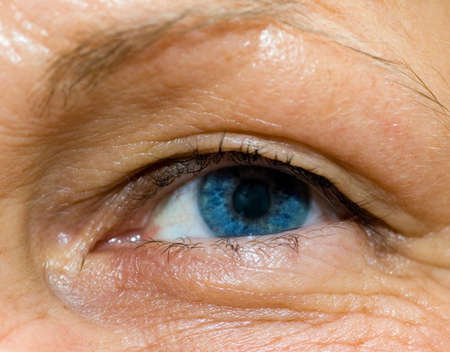 femal: a close up view of a femal eye Stock Photo