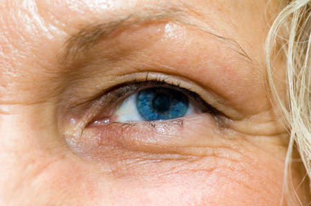 a close up view of a femal eye photo