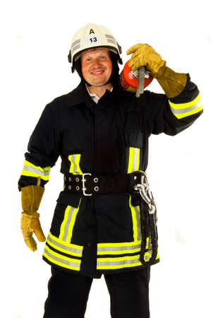 fire fighter: a Portrait of a fire fighter in uniform
