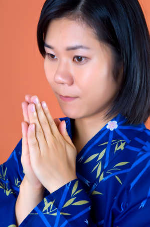 A Portrait of a young Asian � Japanese with Kimono Stock Photo - 7578775