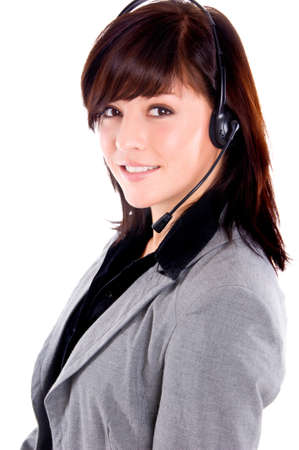 beautiful young operator on a white background Stock Photo - 7875346