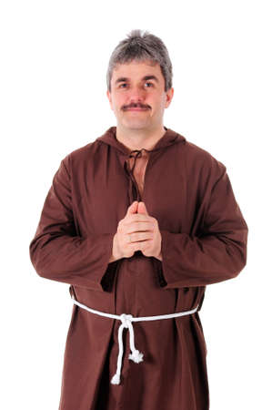 Portrait of a Christian monk in brown habit photo