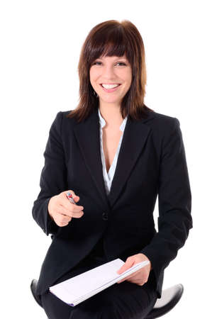 Portrait - attractive woman on a white background, business woman, student Stock Photo - 10143589