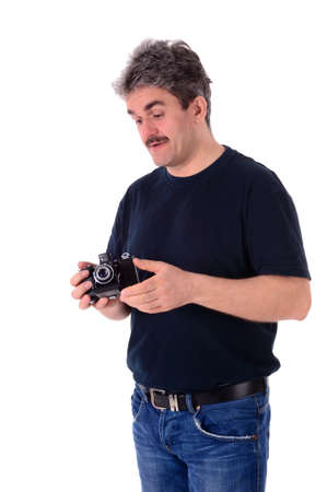 Portrait of a man in a black shirt against white background photo