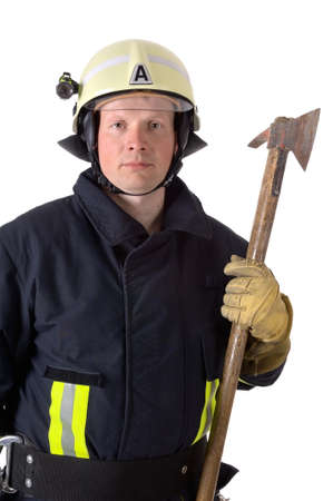 Portrait of a firefighter in work uniform photo