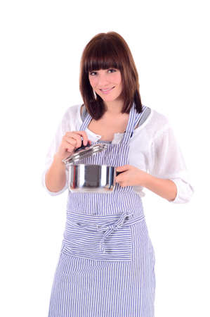 beautiful housewife with a kitchen apron and rolling pin against a white background