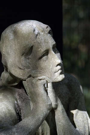 Close-up of a woman sculpture, face and hands