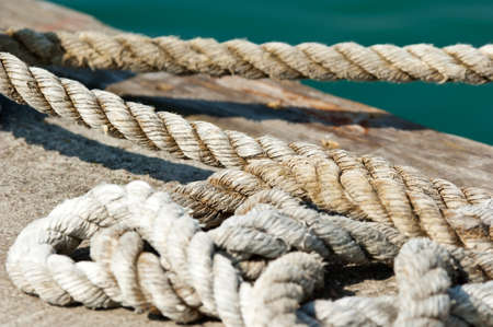 Detail of a hemp rope at the jetty Stock Photo - 17040460