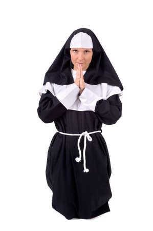 carnival costume: Nun - Young attractive woman in carnival costume Stock Photo