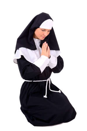 Nun - Young attractive woman in carnival costume Stock Photo
