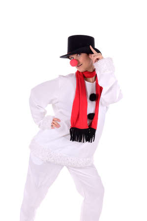 Snowman, a beautiful woman in a snowman costume Stock Photo - 17065046