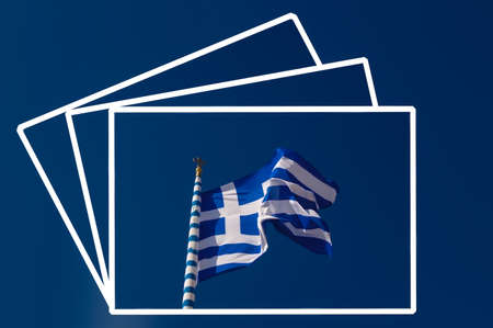 foursquare: Sign and symbol: Close-up of the Greek flag Stock Photo