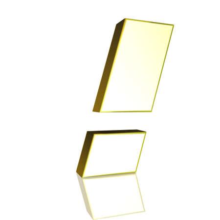 exclamation mark: Signo de exclamaci�n 3D en oro Foto de archivo