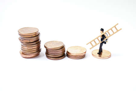 Lucky charm, chimney sweep with ladder stands on coins as a symbol of happiness for prosperity and wealth