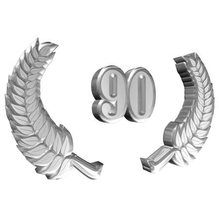3D Illustration: A laurel wreath for the anniversary with number Stock Photo