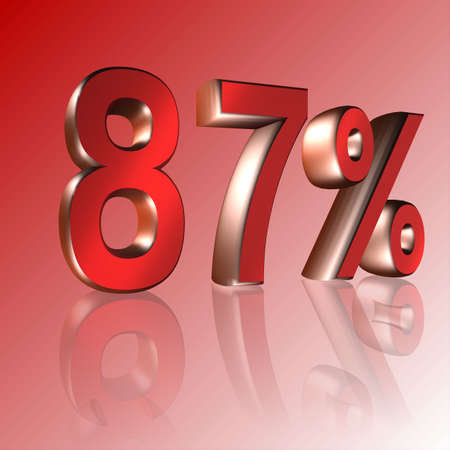 3D Illustrations: percent and percentage signs with reflection 写真素材