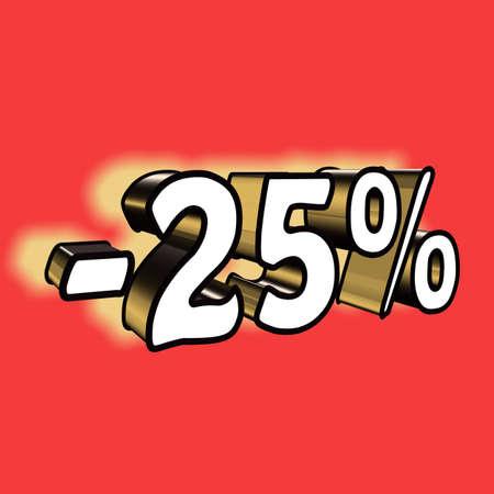 3D illustration, 3D Rendering: 25%, symbol image for investments, interest, discount, profit
