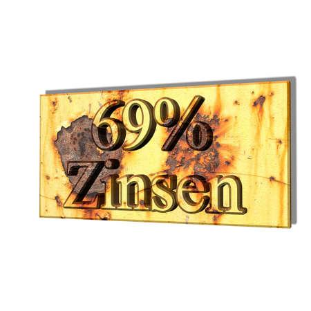 3D illustration, 3D Rendering: 69% interest, symbol image of investment, interest income