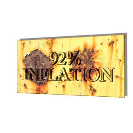 3D illustration, 3D Rendering: 92% inflation, symbol image for price increase, depreciation