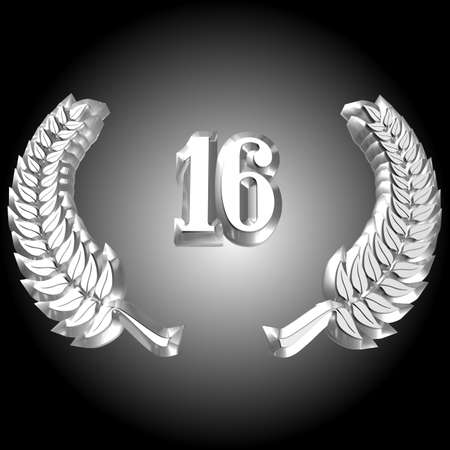 3D Illustration, 3D Rendering: A laurel wreath with the number 16, symbol image for a jubilee, anniversaries, successes