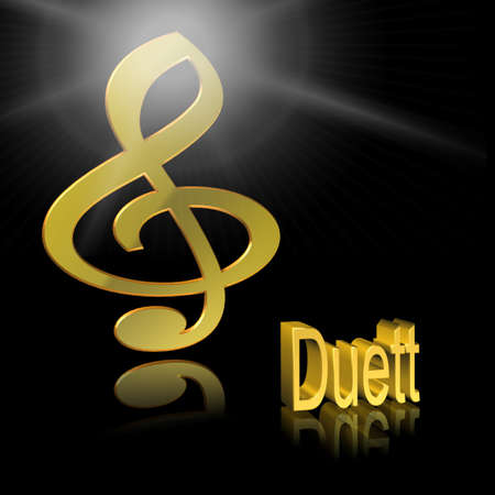 Duet Music - 3D illustration, 3D Rendering: symbol image for music, entertainment and culture Stock Photo