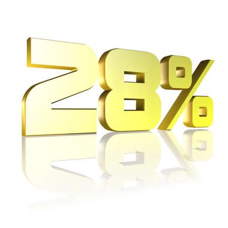 3D illustration, 3D Rendering: 28%, symbol image for investments, interest, discount, profit