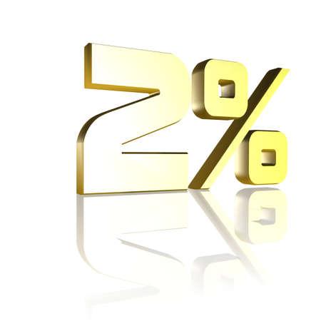 3D illustration, 3D Rendering: 2%, symbol image for investments, interest, discount, profit Stock Photo