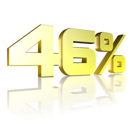 3D illustration, 3D Rendering: 46%, symbol image for investments, interest, discount, profit